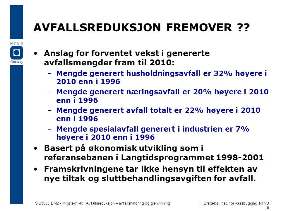 """SIB5003 BM2 - Miljøteknikk: """"Avfallsreduksjon – avfallshindring og gjenvinning""""H. Brattebø, Inst. for vassbygging, NTNU 10 AVFALLSREDUKSJON FREMOVER ?"""