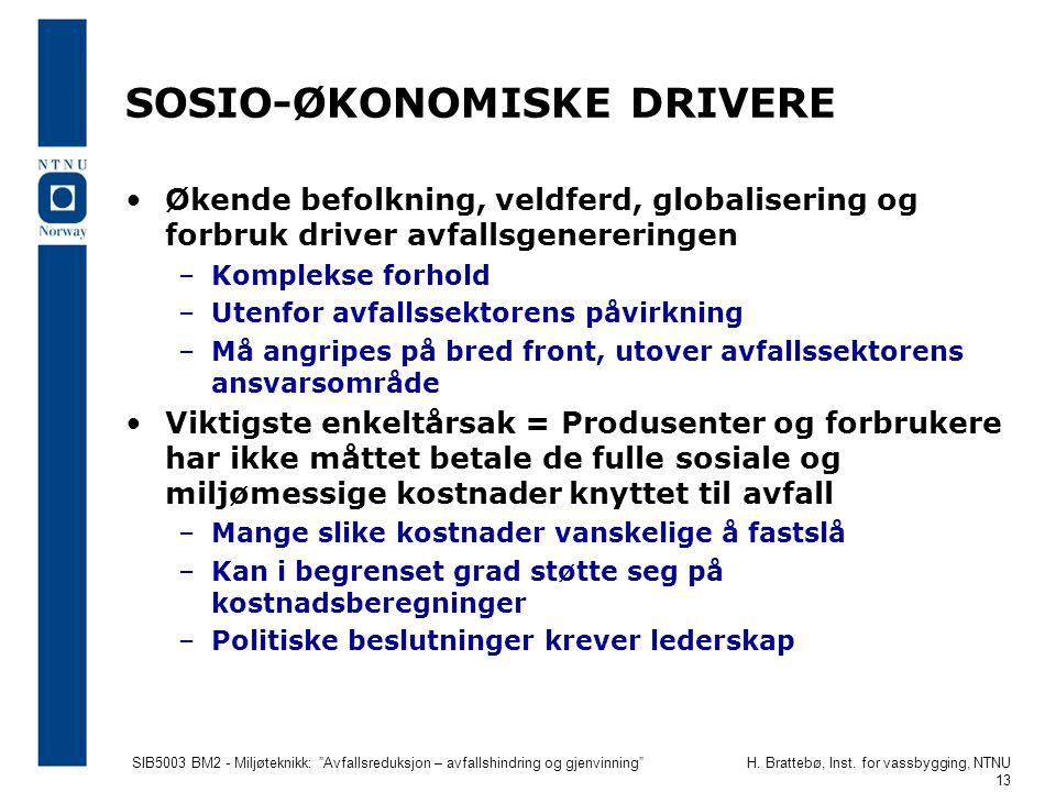 """SIB5003 BM2 - Miljøteknikk: """"Avfallsreduksjon – avfallshindring og gjenvinning""""H. Brattebø, Inst. for vassbygging, NTNU 13 SOSIO-ØKONOMISKE DRIVERE Øk"""