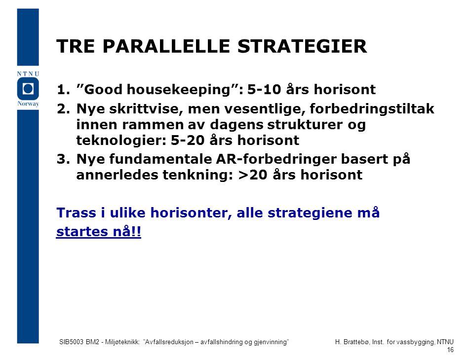 """SIB5003 BM2 - Miljøteknikk: """"Avfallsreduksjon – avfallshindring og gjenvinning""""H. Brattebø, Inst. for vassbygging, NTNU 16 TRE PARALLELLE STRATEGIER 1"""