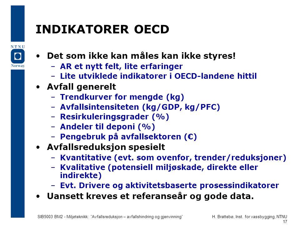 """SIB5003 BM2 - Miljøteknikk: """"Avfallsreduksjon – avfallshindring og gjenvinning""""H. Brattebø, Inst. for vassbygging, NTNU 17 INDIKATORER OECD Det som ik"""