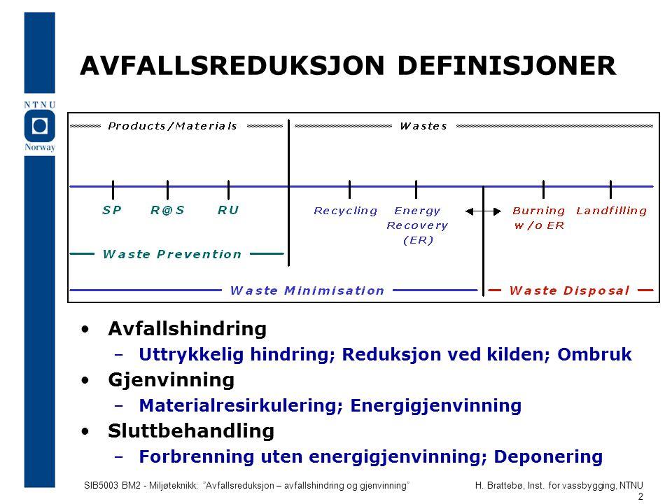 """SIB5003 BM2 - Miljøteknikk: """"Avfallsreduksjon – avfallshindring og gjenvinning""""H. Brattebø, Inst. for vassbygging, NTNU 2 AVFALLSREDUKSJON DEFINISJONE"""