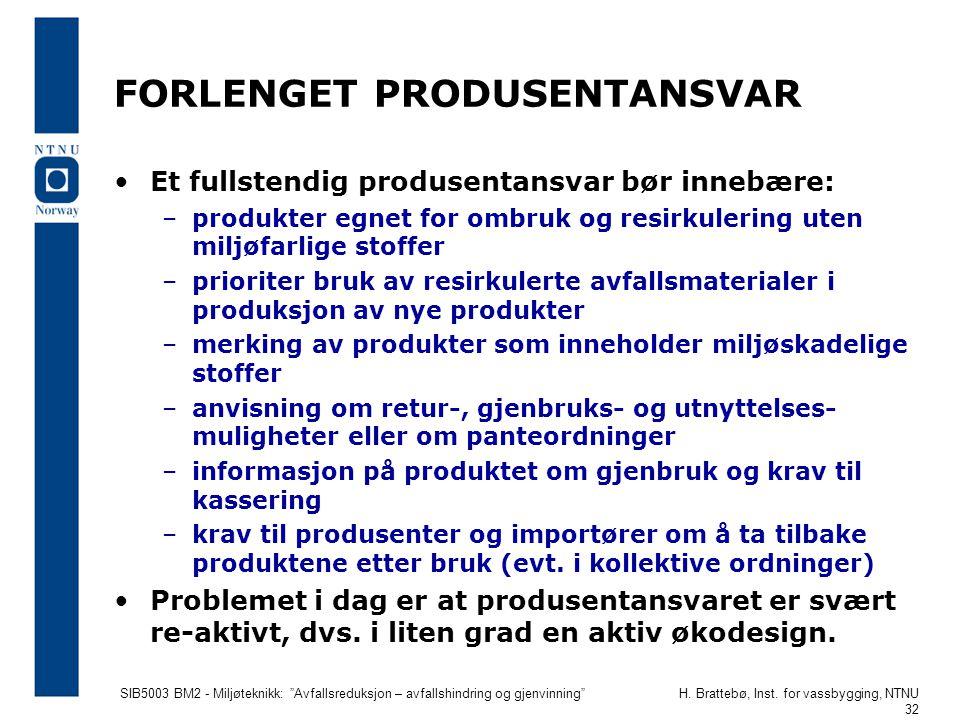 """SIB5003 BM2 - Miljøteknikk: """"Avfallsreduksjon – avfallshindring og gjenvinning""""H. Brattebø, Inst. for vassbygging, NTNU 32 FORLENGET PRODUSENTANSVAR E"""