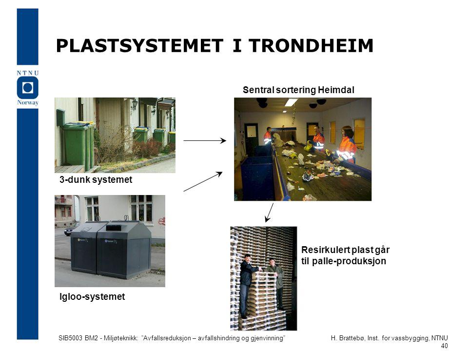 """SIB5003 BM2 - Miljøteknikk: """"Avfallsreduksjon – avfallshindring og gjenvinning""""H. Brattebø, Inst. for vassbygging, NTNU 40 PLASTSYSTEMET I TRONDHEIM 3"""