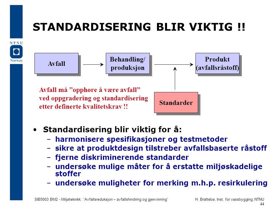 """SIB5003 BM2 - Miljøteknikk: """"Avfallsreduksjon – avfallshindring og gjenvinning""""H. Brattebø, Inst. for vassbygging, NTNU 44 STANDARDISERING BLIR VIKTIG"""