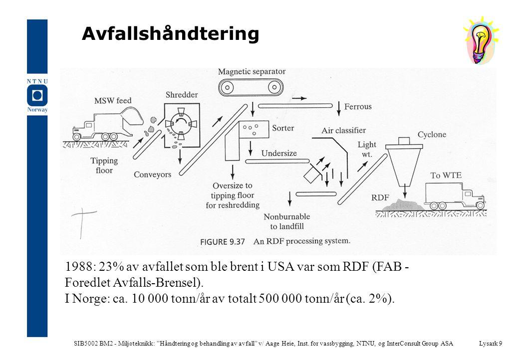 """SIB5002 BM2 - Miljøteknikk: """"Håndtering og behandling av avfall"""" v/ Aage Heie, Inst. for vassbygging, NTNU, og InterConsult Group ASALysark 9 Avfallsh"""