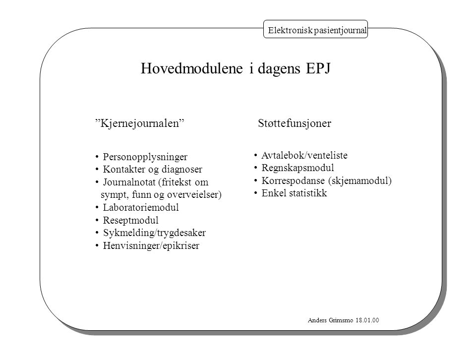 """Anders Grimsmo 18.01.00 Elektronisk pasientjournal Hovedmodulene i dagens EPJ """"Kjernejournalen"""" Personopplysninger Kontakter og diagnoser Journalnotat"""