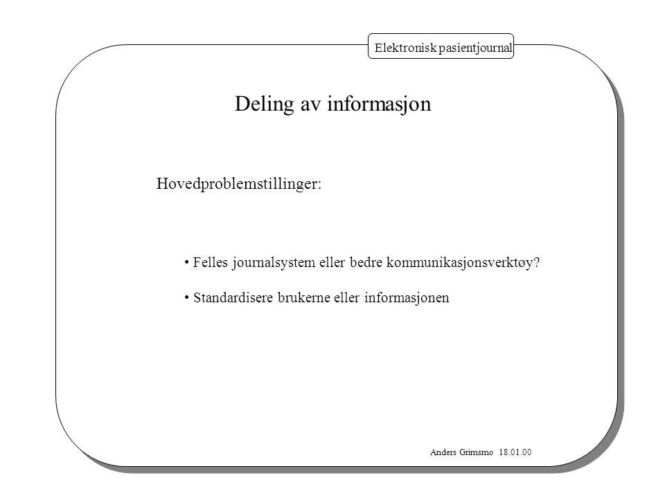 Anders Grimsmo 18.01.00 Elektronisk pasientjournal Deling av informasjon Hovedproblemstillinger: Felles journalsystem eller bedre kommunikasjonsverktø