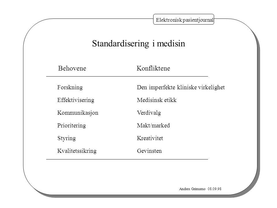 Anders Grimsmo 08.09.98 Elektronisk pasientjournal BehoveneKonfliktene Standardisering i medisin Forskning Effektivisering Kommunikasjon Prioritering
