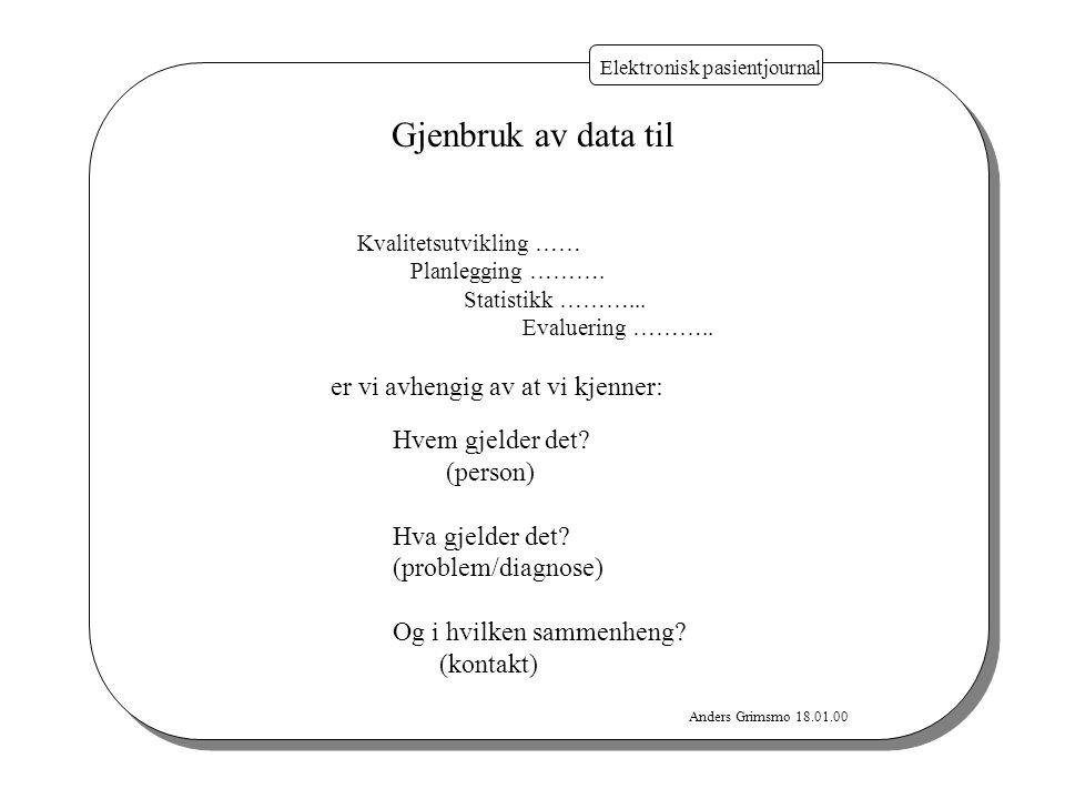 Anders Grimsmo 18.01.00 Elektronisk pasientjournal Gjenbruk av data til Kvalitetsutvikling …… Planlegging ………. Statistikk ………... Evaluering ……….. er v