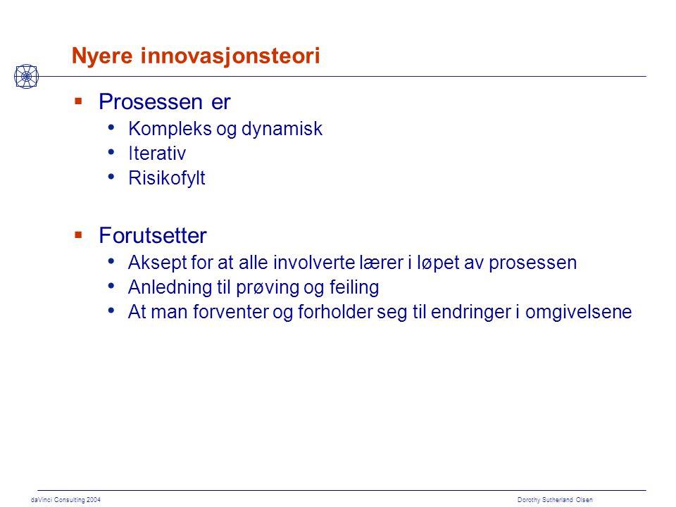 daVinci Consulting 2004 Dorothy Sutherland Olsen Nyere innovasjonsteori  Prosessen er Kompleks og dynamisk Iterativ Risikofylt  Forutsetter Aksept f