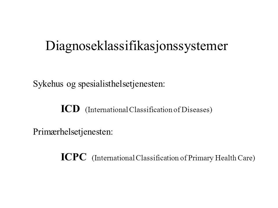 Diagnoseklassifikasjonssystemer Sykehus og spesialisthelsetjenesten: ICD (International Classification of Diseases) Primærhelsetjenesten: ICPC (Intern