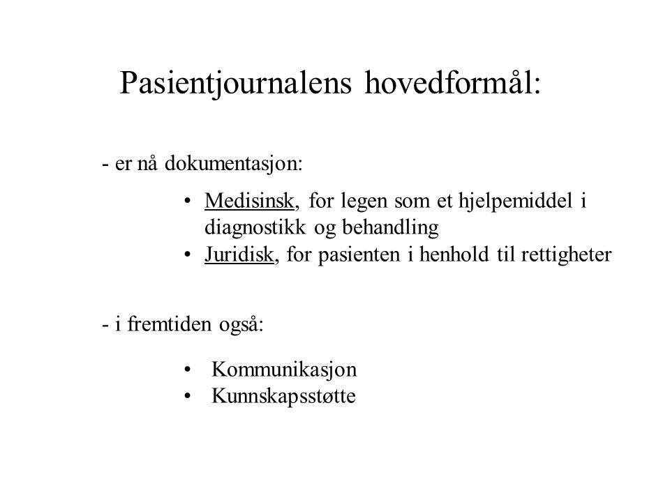 Pasientjournalens hovedformål: Medisinsk, for legen som et hjelpemiddel i diagnostikk og behandling Juridisk, for pasienten i henhold til rettigheter