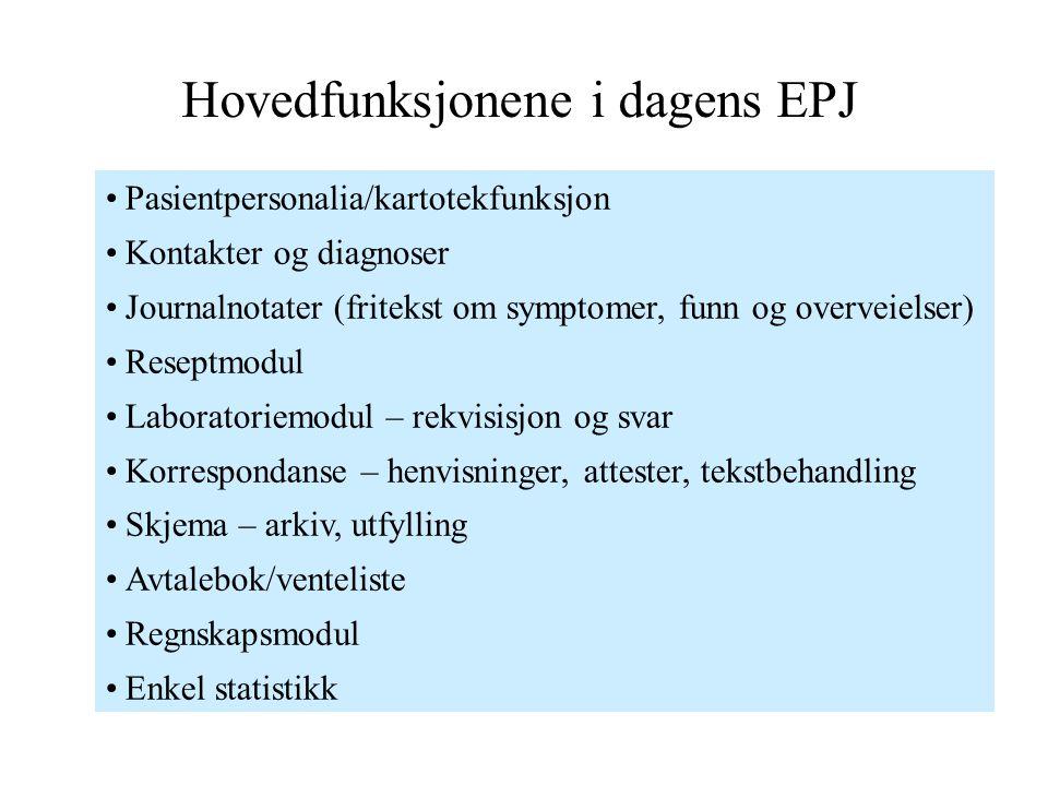 Hovedfunksjonene i dagens EPJ Pasientpersonalia/kartotekfunksjon Kontakter og diagnoser Journalnotater (fritekst om symptomer, funn og overveielser) R
