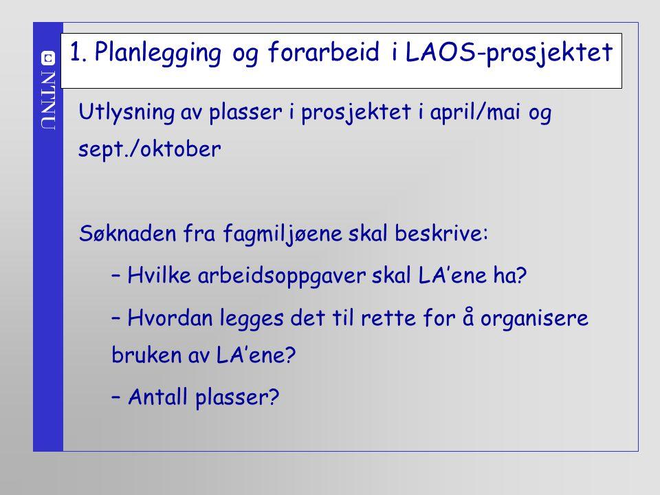 1. Planlegging og forarbeid i LAOS-prosjektet Utlysning av plasser i prosjektet i april/mai og sept./oktober Søknaden fra fagmiljøene skal beskrive: –