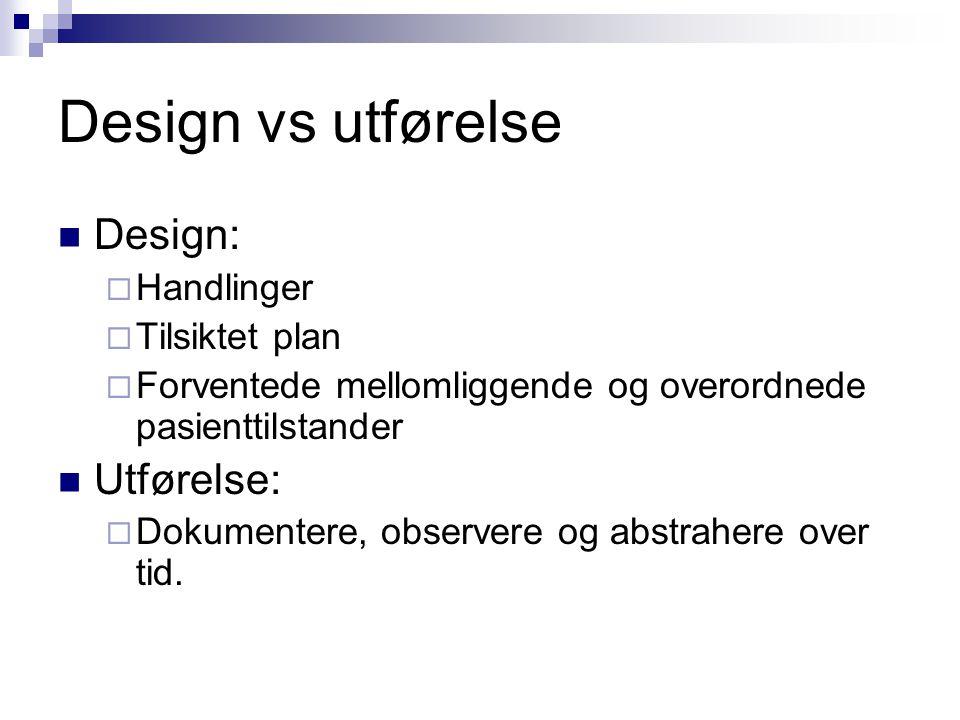 Design vs utførelse Design:  Handlinger  Tilsiktet plan  Forventede mellomliggende og overordnede pasienttilstander Utførelse:  Dokumentere, observere og abstrahere over tid.