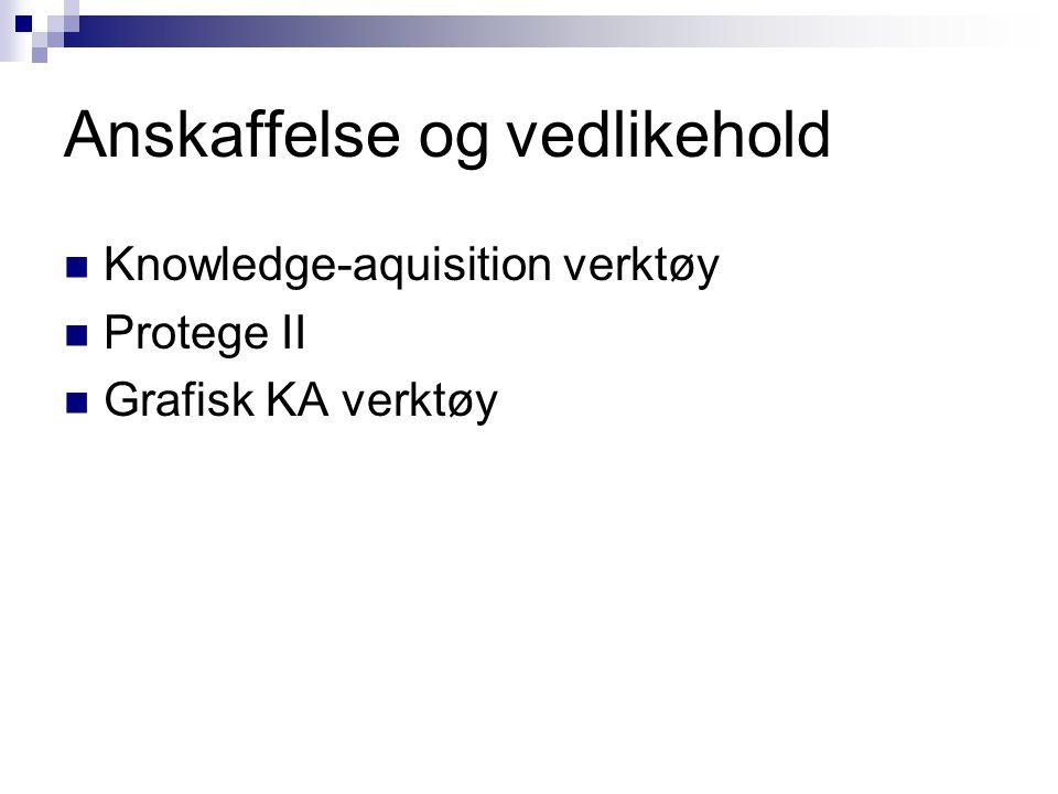 Anskaffelse og vedlikehold Knowledge-aquisition verktøy Protege II Grafisk KA verktøy
