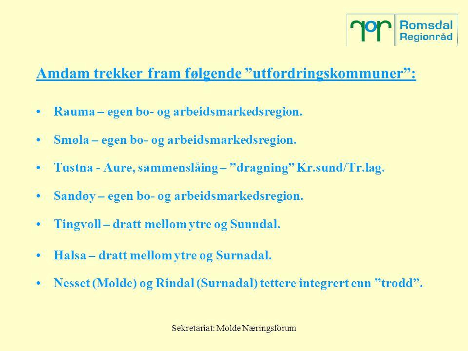 """Sekretariat: Molde Næringsforum Amdam trekker fram følgende """"utfordringskommuner"""": Rauma – egen bo- og arbeidsmarkedsregion. Smøla – egen bo- og arbei"""
