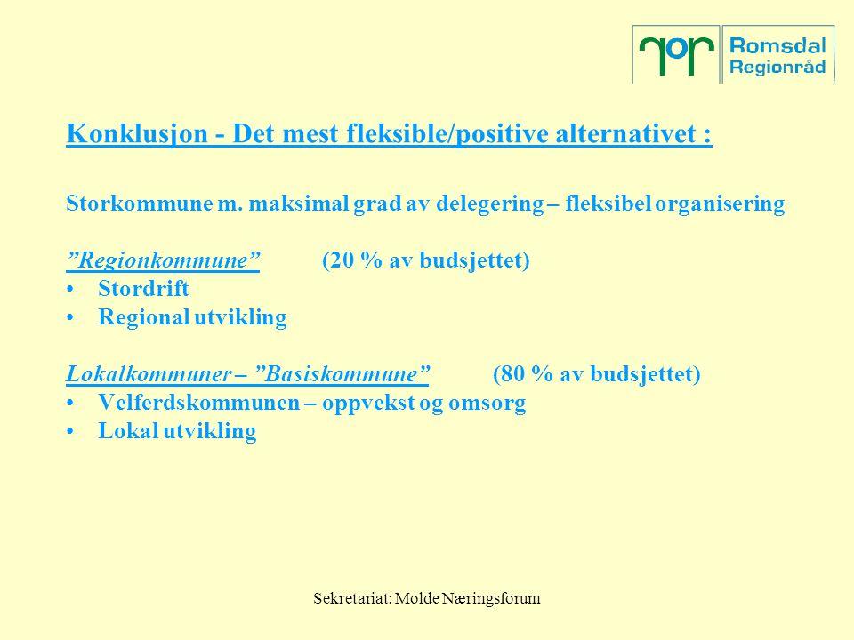 Sekretariat: Molde Næringsforum Konklusjon - Det mest fleksible/positive alternativet : Storkommune m. maksimal grad av delegering – fleksibel organis