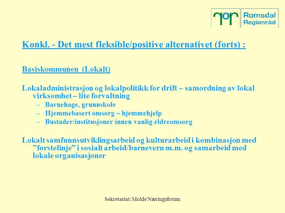 Sekretariat: Molde Næringsforum Konkl. - Det mest fleksible/positive alternativet (forts) : Basiskommunen (Lokalt) Lokaladministrasjon og lokalpolitik