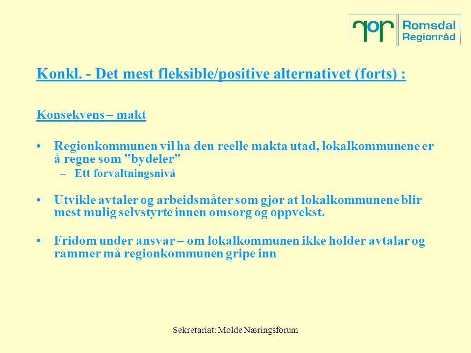 Sekretariat: Molde Næringsforum Konkl. - Det mest fleksible/positive alternativet (forts) : Konsekvens – makt Regionkommunen vil ha den reelle makta u