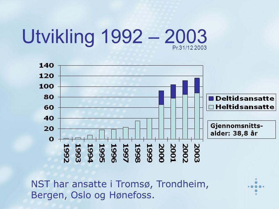 Utvikling 1992 – 2003 NST har ansatte i Tromsø, Trondheim, Bergen, Oslo og Hønefoss.