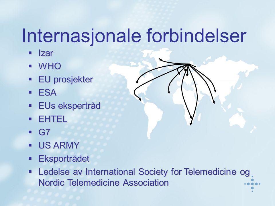  Izar  WHO  EU prosjekter  ESA  EUs ekspertråd  EHTEL  G7  US ARMY  Eksportrådet  Ledelse av International Society for Telemedicine og Nordic Telemedicine Association Internasjonale forbindelser