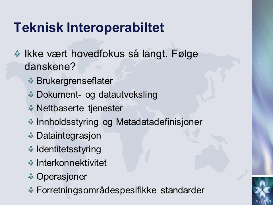 Teknisk Interoperabiltet Ikke vært hovedfokus så langt.
