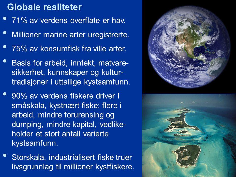 71% av verdens overflate er hav.Millioner marine arter uregistrerte.