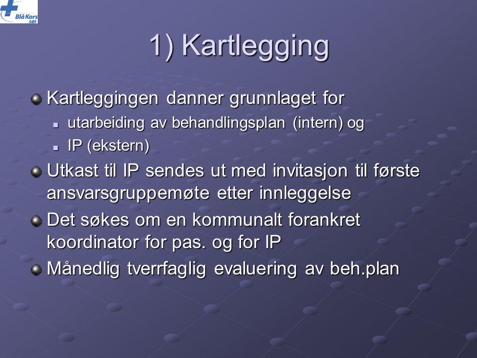 1) Kartlegging Kartleggingen danner grunnlaget for utarbeiding av behandlingsplan (intern) og utarbeiding av behandlingsplan (intern) og IP (ekstern)