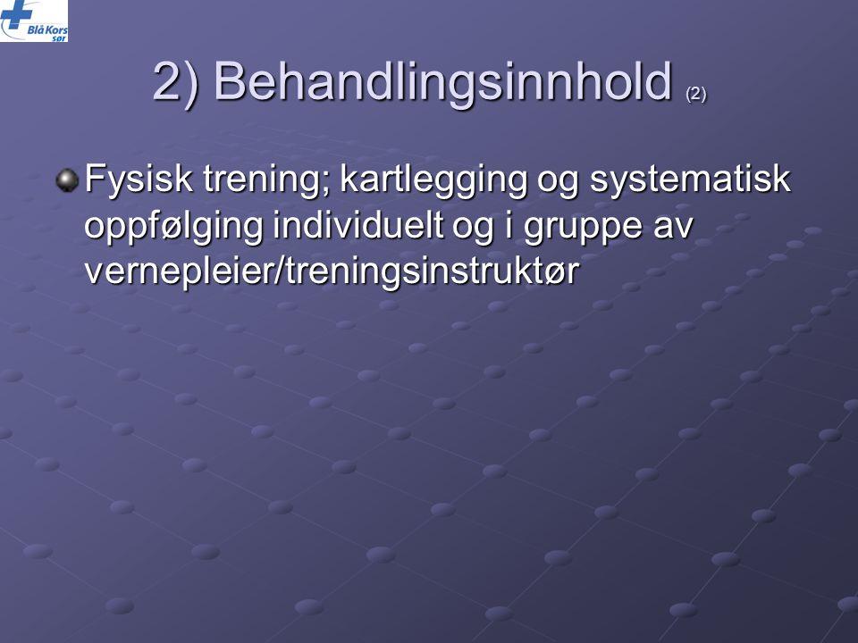 2) Behandlingsinnhold (2) Fysisk trening; kartlegging og systematisk oppfølging individuelt og i gruppe av vernepleier/treningsinstruktør
