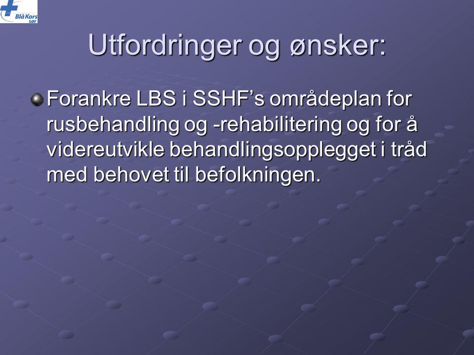 Utfordringer og ønsker: Forankre LBS i SSHF's områdeplan for rusbehandling og -rehabilitering og for å videreutvikle behandlingsopplegget i tråd med b