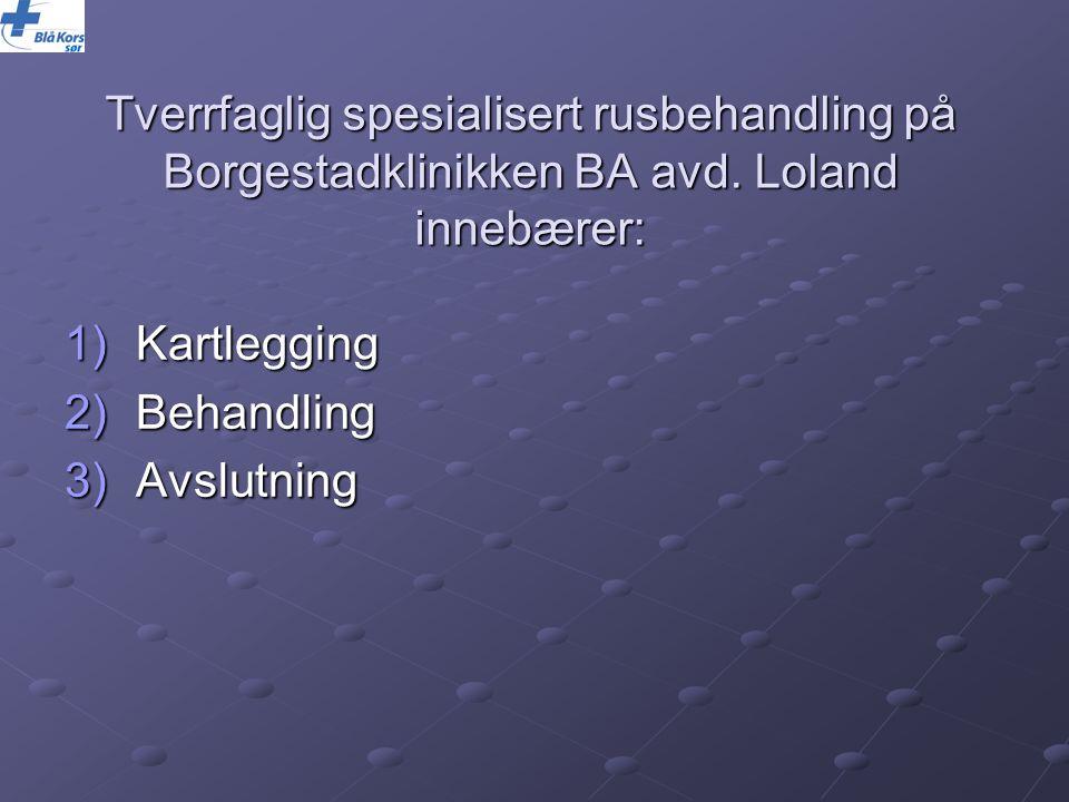 Tverrfaglig spesialisert rusbehandling på Borgestadklinikken BA avd. Loland innebærer: 1)Kartlegging 2)Behandling 3)Avslutning