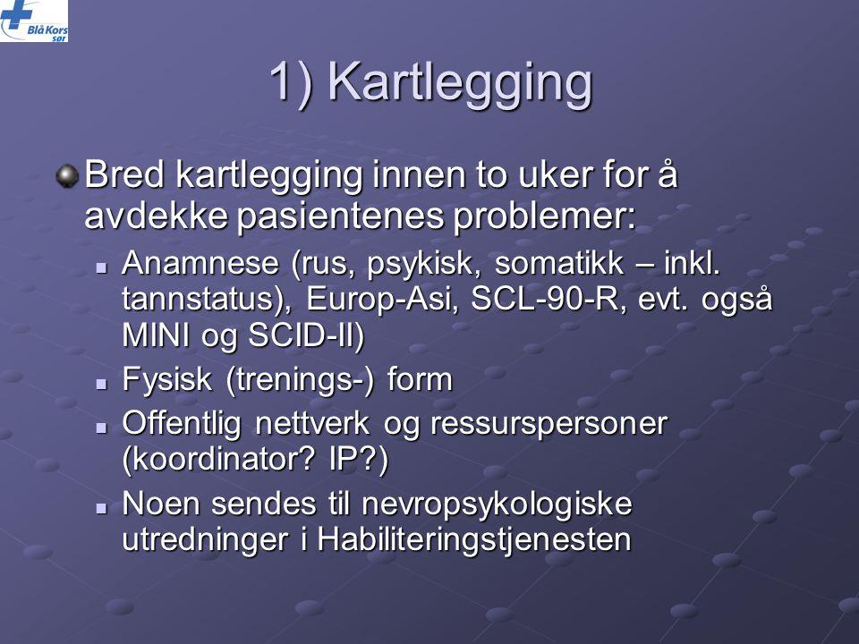 1) Kartlegging Bred kartlegging innen to uker for å avdekke pasientenes problemer: Anamnese (rus, psykisk, somatikk – inkl. tannstatus), Europ-Asi, SC