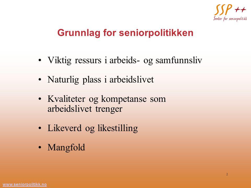 www.seniorpolitikk.no 2 Grunnlag for seniorpolitikken Viktig ressurs i arbeids- og samfunnsliv Naturlig plass i arbeidslivet Kvaliteter og kompetanse