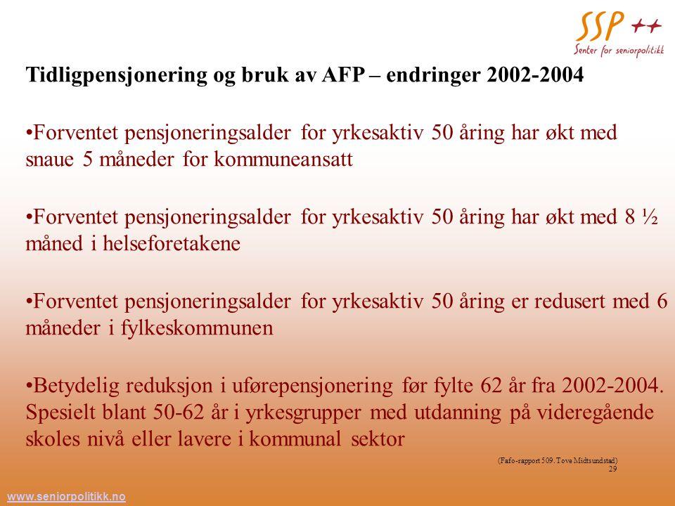 www.seniorpolitikk.no 29 Tidligpensjonering og bruk av AFP – endringer 2002-2004 Forventet pensjoneringsalder for yrkesaktiv 50 åring har økt med snau