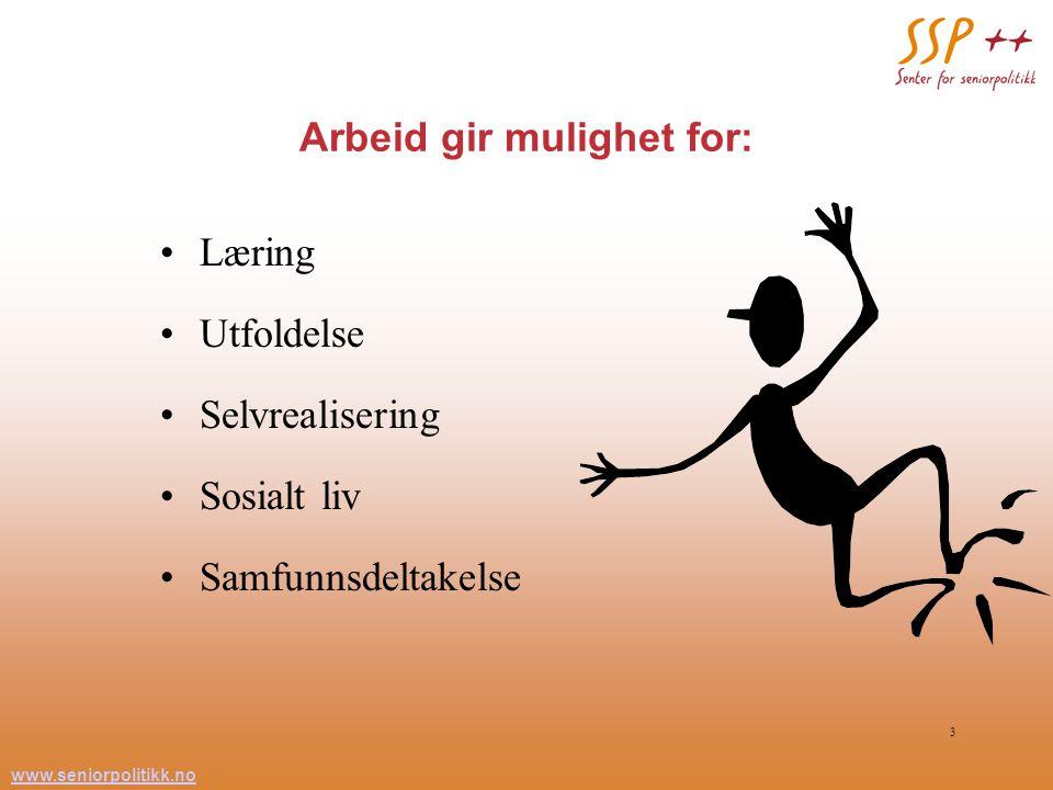 www.seniorpolitikk.no 3 Arbeid gir mulighet for: Læring Utfoldelse Selvrealisering Sosialt liv Samfunnsdeltakelse
