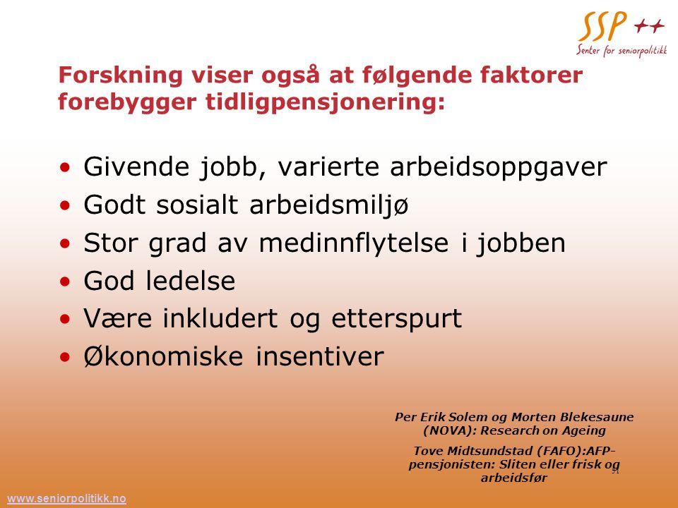 www.seniorpolitikk.no 31 Forskning viser også at følgende faktorer forebygger tidligpensjonering: Givende jobb, varierte arbeidsoppgaver Godt sosialt
