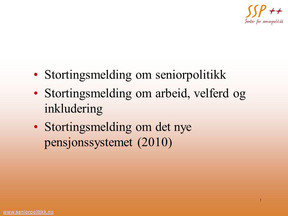 www.seniorpolitikk.no 5 Stortingsmelding om seniorpolitikk Stortingsmelding om arbeid, velferd og inkludering Stortingsmelding om det nye pensjonssyst