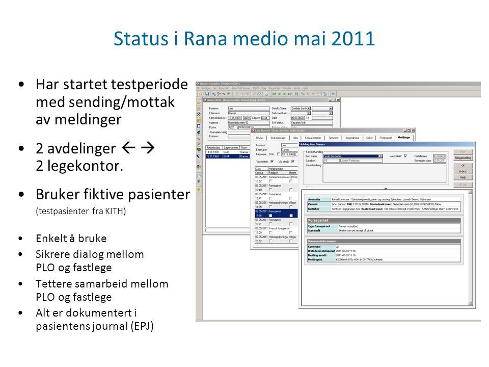 Status i Rana medio mai 2011 Har startet testperiode med sending/mottak av meldinger 2 avdelinger   2 legekontor. Bruker fiktive pasienter (testpasi