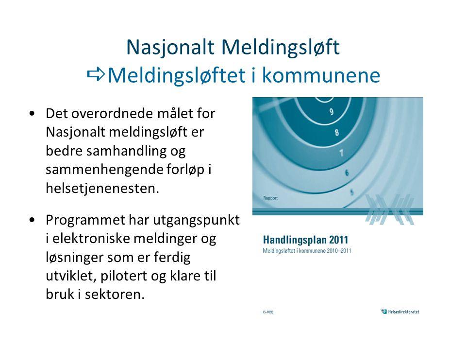 Nasjonalt Meldingsløft  Meldingsløftet i kommunene Det overordnede målet for Nasjonalt meldingsløft er bedre samhandling og sammenhengende forløp i h