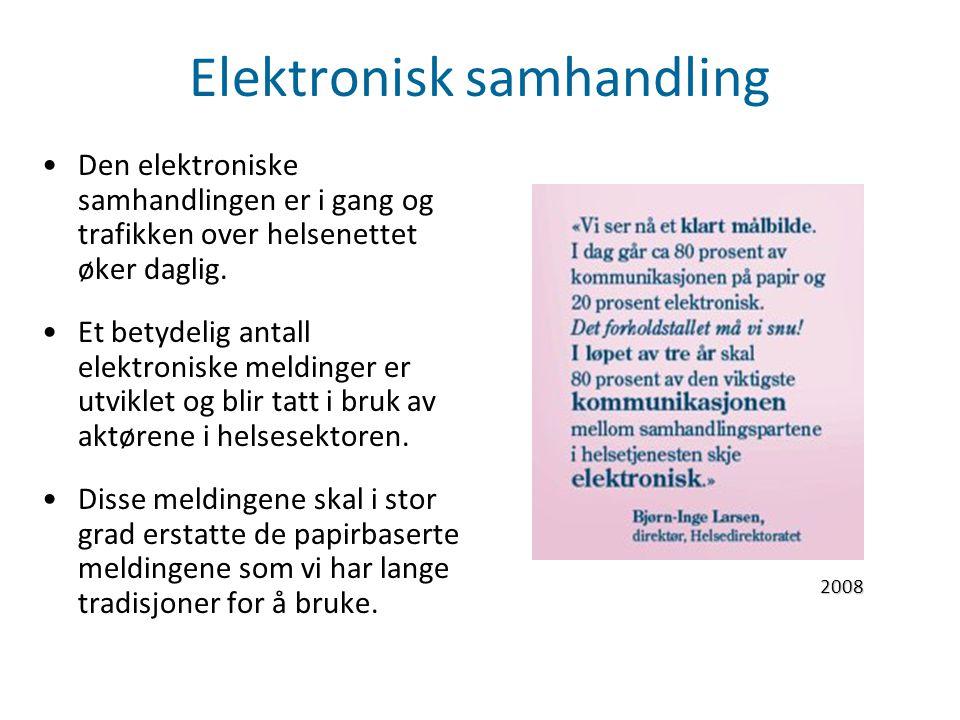 Elektronisk samhandling Den elektroniske samhandlingen er i gang og trafikken over helsenettet øker daglig. Et betydelig antall elektroniske meldinger