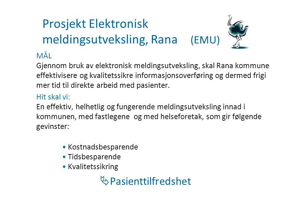 Prosjekt Elektronisk meldingsutveksling, Rana (EMU) MÅL Gjennom bruk av elektronisk meldingsutveksling, skal Rana kommune effektivisere og kvalitetssi
