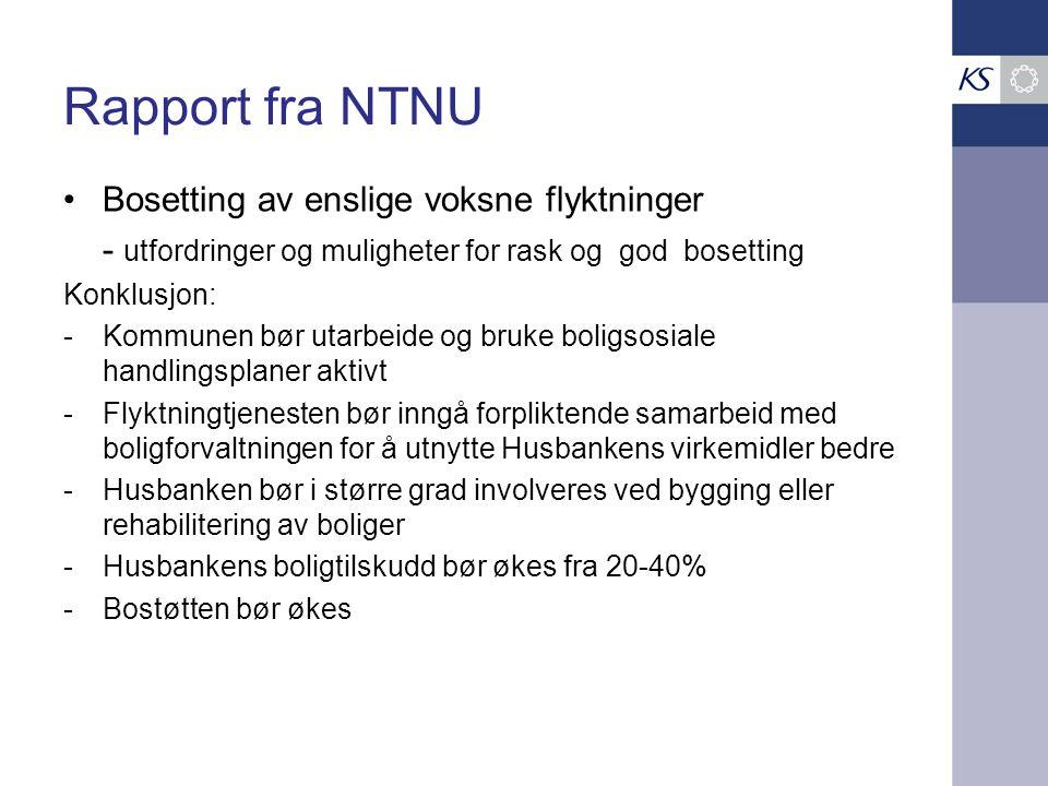 Rapport fra NTNU Bosetting av enslige voksne flyktninger - utfordringer og muligheter for rask og god bosetting Konklusjon: -Kommunen bør utarbeide og