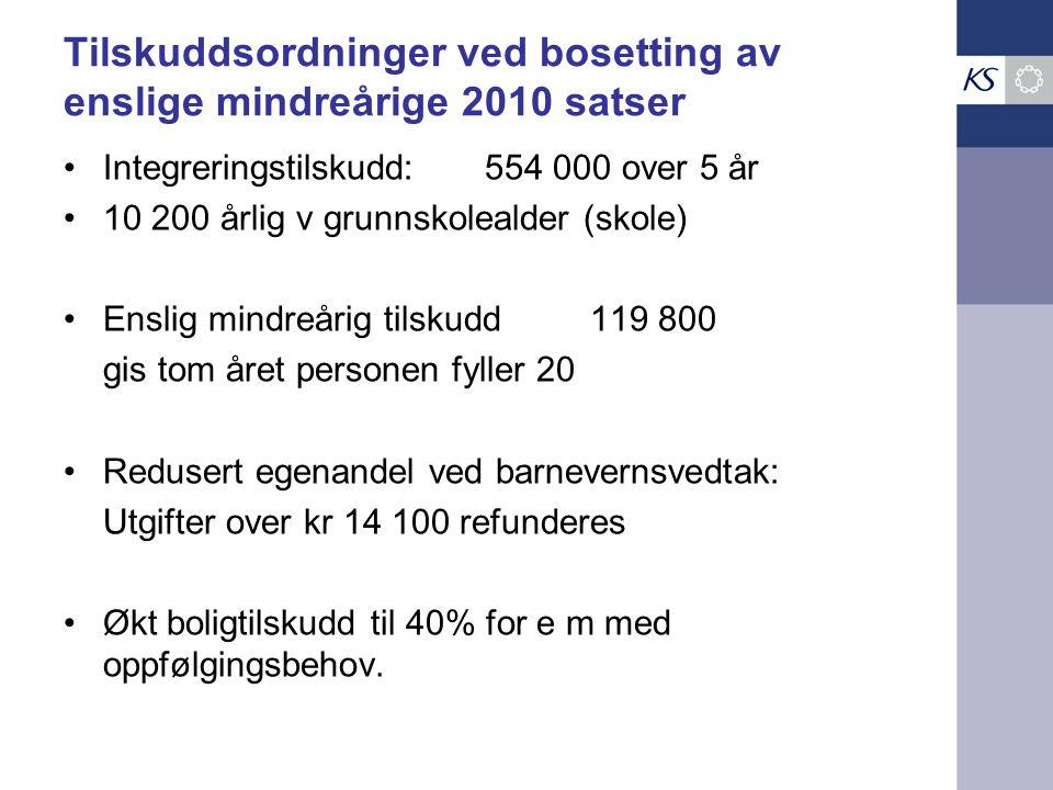 Tilskuddsordninger ved bosetting av enslige mindreårige 2010 satser Integreringstilskudd: 554 000 over 5 år 10 200 årlig v grunnskolealder (skole) Ens