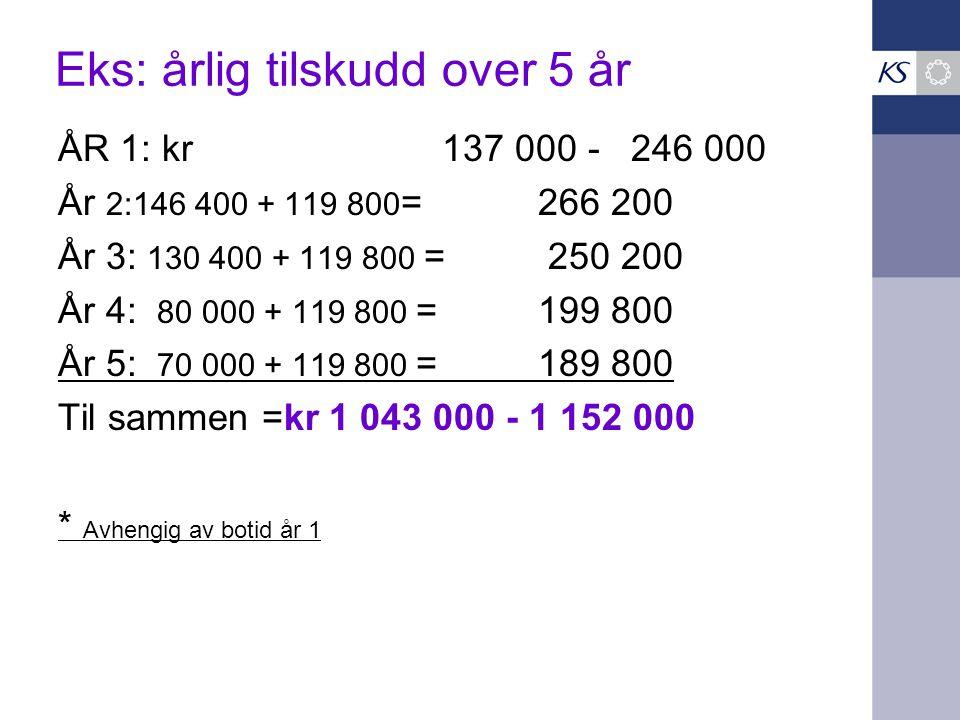 Eks: årlig tilskudd over 5 år ÅR 1: kr137 000 - 246 000 År 2:146 400 + 119 800 = 266 200 År 3: 130 400 + 119 800 = 250 200 År 4: 80 000 + 119 800 = 19