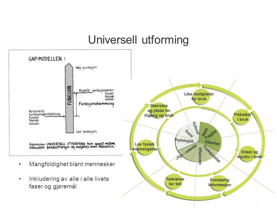 Universell utforming Mangfoldighet blant mennesker Inkludering av alle i alle livets faser og gjøremål