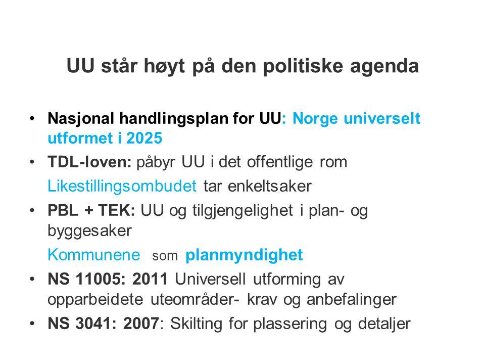 UU står høyt på den politiske agenda Nasjonal handlingsplan for UU: Norge universelt utformet i 2025 TDL-loven: påbyr UU i det offentlige rom Likestillingsombudet tar enkeltsaker PBL + TEK: UU og tilgjengelighet i plan- og byggesaker Kommunene som planmyndighet NS 11005: 2011 Universell utforming av opparbeidete uteområder- krav og anbefalinger NS 3041: 2007: Skilting for plassering og detaljer