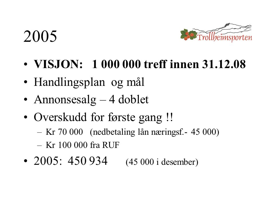 2005 VISJON: 1 000 000 treff innen 31.12.08 Handlingsplan og mål Annonsesalg – 4 doblet Overskudd for første gang !.