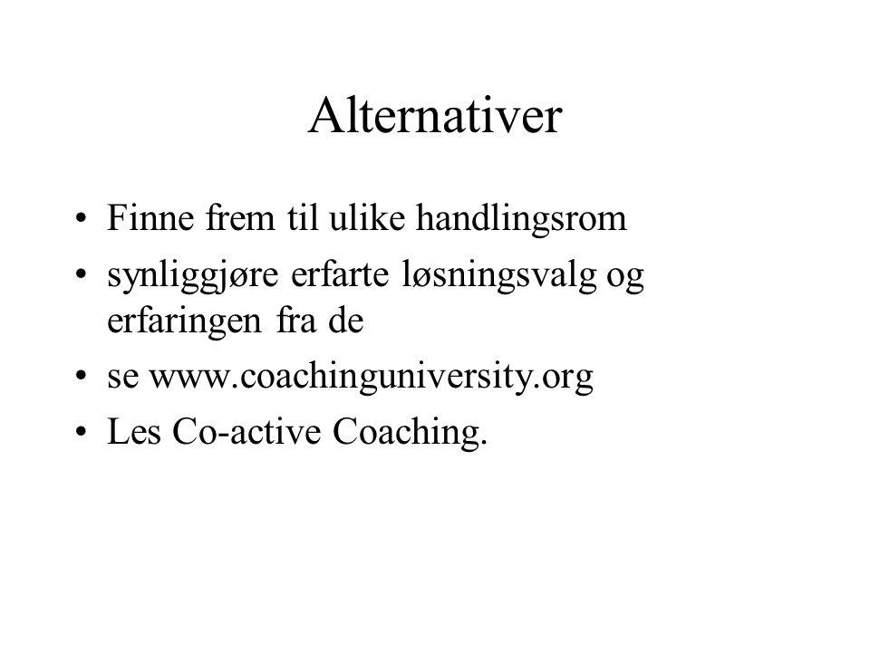 Alternativer Finne frem til ulike handlingsrom synliggjøre erfarte løsningsvalg og erfaringen fra de se www.coachinguniversity.org Les Co-active Coach