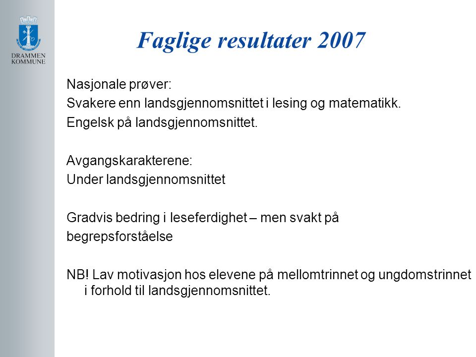 Faglige resultater 2007 Nasjonale prøver: Svakere enn landsgjennomsnittet i lesing og matematikk. Engelsk på landsgjennomsnittet. Avgangskarakterene: